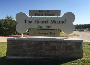 Flower Mound dog park entrance sign The Hound Mound