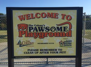 The Colony's Pawsome Playground dog park signage